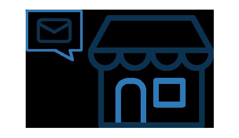 Imagen de casa con globo de de conversacion con un sobre de mensaje dentro